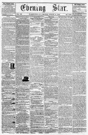 WASHINGTON, I). C\, MONDAY. AUGUST II, 1856. NO. 1,094. THE EVENING STAB, rCRLIUHKD EVERT AFTER MOOM, (EXCEPT SUNDAY,) At ?*?