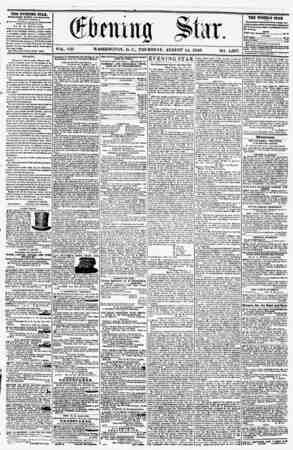 VOL. VIII WASHINGTON, D. THURSDAY, AUGUST 14, 1856. NO. 1,097. THE EVENING STAR, fOBLIIHKD EVERY AFfEKNOUR, (EXCEPT SUNDAY,)