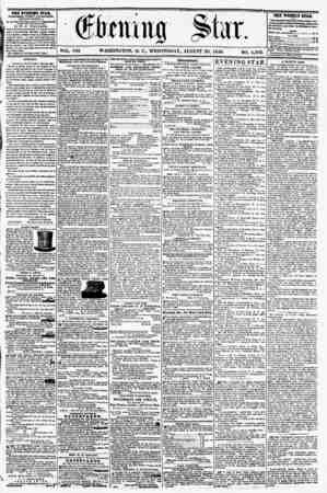 VOL. Vlll WASHINGTON, D. C.. WEDNESDAY. AUGUST 20, 1856. NO. 1,102. THE EVENING STAB, rCBLlSHED EVERT AFTKRNUURt (EXCEPT...