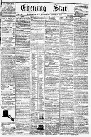 VOL. VIII. WASHINGTON, D. C.. WEDNESDAY. AUGUST 27, 1856. NO. 1,108. TH2 EVENING STAB, rCKLISHKU KVBRT AFTERNOON, (EXCEPT...