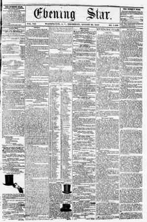VOL. VIII. WASHINGTON, l>. C., THURSDAY, AUGUST 28, 1856 I , NO. 1,109 THE EVENING STAB, PUBLISHED EVERY AFTIRNOOa, (KXCKPT