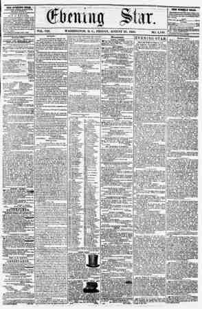"VOL. VIIL "" i ! b: - WASHINGTON, I), v., FRIDAY. AUGUST 29. 1856. N0. 1>II0 THE EVENING STAR, rUBLISHKD BTK&T AFTER NOUN,..."