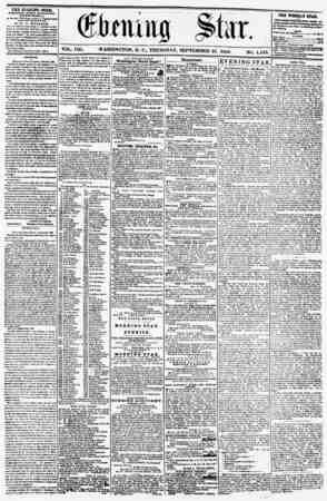 VOL. VIII. WASHINGTON, D. C., THURSDAY, SEPTEMBER 25. 1856 NO. 1,133. THE EV?NHfG STAR, rCBLISIIED EVKKT AFTERNOON, (EXCEPT
