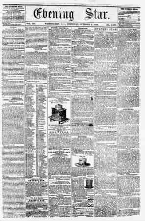 VOL. VIII. WASHINGTON, I). C? THURSDAY, OCTOBER 2, 1856. NO 1,139. THE EVENING STAB, FCBLlfiUKD ETERT AFTERNOON, (EXCEPT...