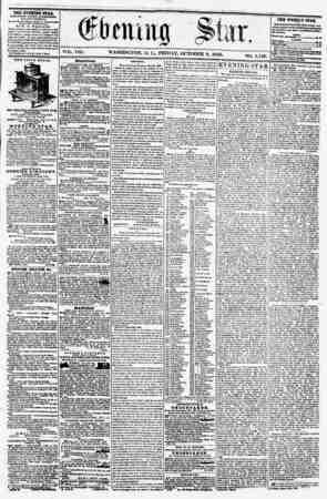 VOL. Vlli. WASHINGTON, I). C.. FRIDAY, OCTOBER 3, 1856. TEE EVENING STAB, PCBLI?ItV:i> EVKKT AFTERNOON, (EXCEPT SUNDAY,) 41