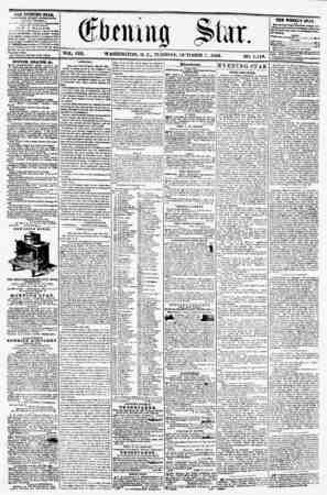 VOL. VIII. WASHINGTON, D. C., TUESDAY, OCTOBER 7, 1856. NO. 1,148. THJE EVENING STAB, riKLIKHEO KVKKT AFTERNOON, (EXCEPT...