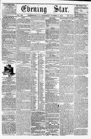 VOL. VIII. WASHINGTON. D. C., WEDNESDAY. OCTOBER 15, 1856. NO. 1,150. THE EVWIIHG STAB, rCBLISHKD EVERT ArTKJIFIOOII, (EXCEPT