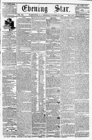 VOL. VIII. WASHINGTON. I). C., THURSDAY. OCTOBER 16 1856. NO. 1,151. THE EVENING STAR, fOBLUHED KVKR.T ArTBRNOUR, (KXCEPT...