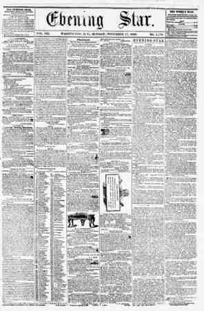 VOL. VIII. WASHINGTON, D. G, MONDAY, NOVEMBER 17, 1856. NO. 1,178 THE EVENING STAB, PTBLI1HKO KVKRT APT Bit IV OUR, (BXCBTT