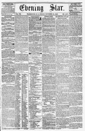 VOL. VIII. WASHINGTON, D. C., FRIDAY, NOVEMBER 28, 1856. NO. 1,187. THE EVENING STAB, rCBLlSHKO KTKHT AfTIRHUUll, <fc.iCi.iT