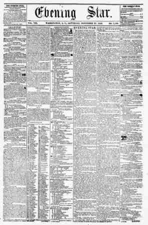 ?taillQ VOL. VIII. WASHINGTON, D. C., SATURDAY, NOVEMBER 29, 1856. NO. 1,188. THE EVENING STAB, FOBLISllSD KVEKT AFTERNOON,