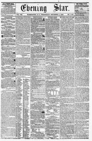 VOL. VIII. WASHINGTON, D. C., WEDNESDAY, DECEMBER 3, 1856. NO. 1,191. THE EVENING STAB, rraLIIUBO ITKKT AFTKRNOOII, (EXCEPT