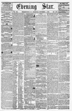 VOL. VIII. WASHINGTON, D. CL, THURSDAY, DECEMBER 4, 1856. NO. 1,192. THE EVENING STAR, rVBLIIHJSD ETIRT AFTERNOON, (EXCEPT