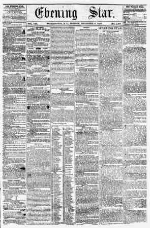 VOL. VIII. WASHINGTON, D. CL, MONDAY, DECEMBER 8, 1856. NO. 1,195. THE EVENING STAR, rvifciiHio itekt arrKB.noon, (EXCEPT...