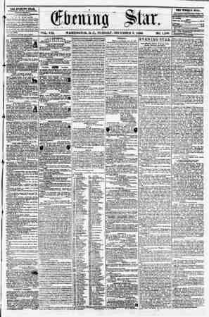 ?a*tr vol. viu. washington, d. c? tuesday, december 9, 1856. no. 1,196. THE ETJSN1H0 STAR, rVKkl>HKl> STUT AVTKUNUUR, (EXCEPT