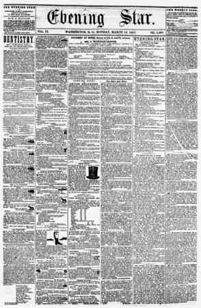 VOL IX. WASHINGTON, D. C., MONDAY, MARCH 16. 1857. NO. 1.29S THE ZVSHIBB STAB If PUBLISHED ITIKV AFTRRNOON, (EXCEPT aUXDAY,)
