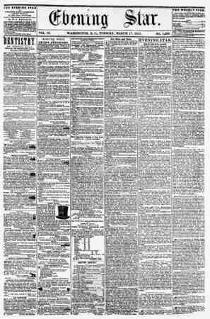 VOL. IX. WASHINGTON, D. C? TUESDAY, MARCH 17, 1857. NO. 1,299. THE KVX9IH0 STAR I> PUBLISH CD IVBRY AFTERNOON, (EXCEPT...