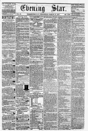 ^ ? f f > VOL. LX. WASHINGTON, D. C., WEDNESDAY, MARCH 18, 1857. NO. 1,300. tee evening stab ? PUBLISHED EVERY AFTERNOON,...
