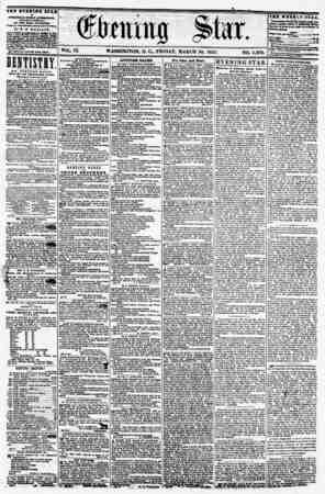 VOL. IX WASHINGTON, D. G, FRIDAY, MARCH 20, 1857. NO. 1,302. THE EVEltllfQ STAB If fftUBHIO ITUT iVTUIlOOR. (MICMPT BUND AT,)