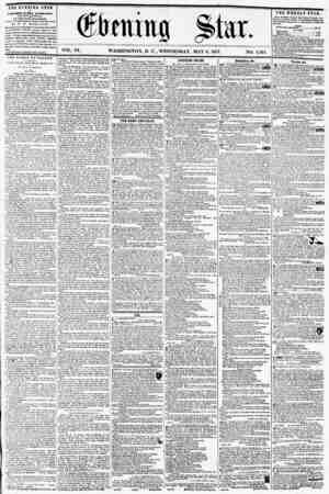 """VOL. IX. WASHINGTON, D. C., WEDNESDAY, MAY 6, 1857. NO. 1,341. """"THE evening star n POLISHED EVERY AFTERNOON, tElCEPTfUNDAY,)"""