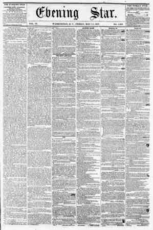 VOL. IX. WASHINGTON, D. C., FRIDAY, MAY 15, 1857. NO. 1,349. THE EVENING STAR PUBLISHED EVERY AFTER3005I, {EXCEPT SUM)AY.> AT