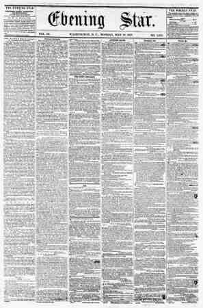 VOL. IX. WASHINGTON, D. C., MONDAY, MAY 18, 1857. NO. 1,351. TBE EVENING STAR n mLISHU) EVERY AFTERNOON, (BXCtPT SUIfDAT.) AT
