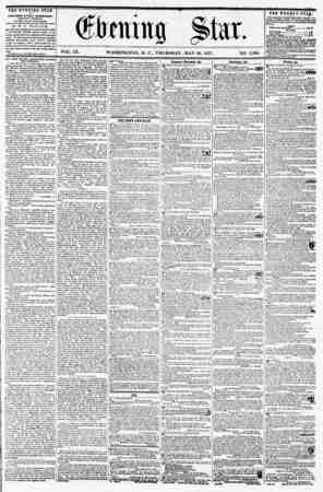 VOL. IX. WASHINGTON, D. C., THURSDAY, MAY 28, 1857 NO. 1,360. THE EVENING STAR M PUBLISHED EVERY AFTERNOON, (EXCEPT SUNDAY,)