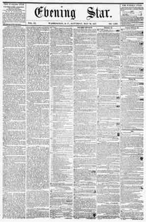 VOL. IX. WASHINGTON, D. C., SATURDAY, MAY 30, 1857. NO. 1,362. ** THE EVENING STAR IS PUBLISHED EVERY AFTERNOON, (EXCEPT...