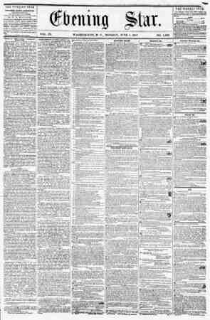 ? . ' VOL. IX. WASHINGTON, D. C., MONDAY, JUNE 1, 1857. NO. 1,3<? 4 THE EVENING STAR | M PUBLISHED EVERY AFTERNOON, | (EXCEPT