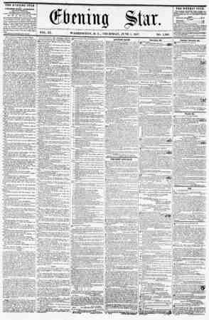 ' 1 * T ?- ? ! - iterling Star. VOL. IX. WASHINGTON, D. C., THURSDAY, JUNE 4, 1857. NO. 1,366 THE EVENING STAR it prVLISUKD