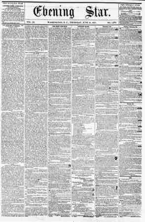 VOL. IX. WASHINGTON, D. C., THURSDAY, JUNE 18, 1857. NO. 1,378. THE EVENING STAR u PUBLISHED EVERY AFTERIOOiV, (SIC MPT...