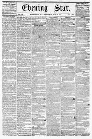 VQL. IX. WASHINGTON, D. C., WEDNESDAY, JUNE 24, 1857. NO. 1,383. THE EVENING STAB M PUBLISHED EVERY AFTERXOOHi {EXCEPT S USD