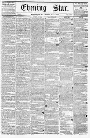 ? km n g VOL. X. WASHINGTON, D. C., MONDAY, JULY <>, 1857. NO. 1,392 THE EVENING STAR is PUBLISHED EVERY AFTERNOON, <EXCEPT