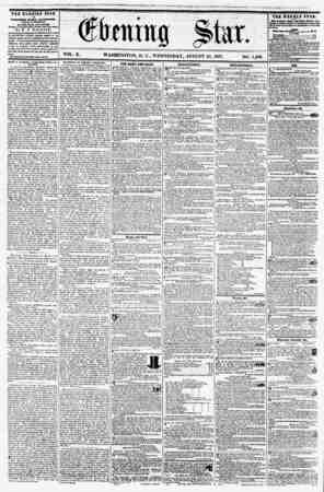 VOL. X. WASHINGTON, D. C., WEDNESDAY, AUGUST 2G, 1857. NO. 1,436. THE EVENING STAR rCBLISHKD ITBBT AfTCRHOOH, (EXCEPT...
