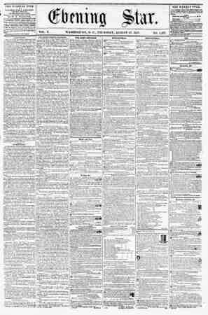 WASHINGTON, D. C., THUBSDAY, AUGUST 27, 1857. NO. 1,437 THE EVENING STAR II PUBLISHED EVERT AFTERNOON, (EXCEPT SUSDAY,) AT