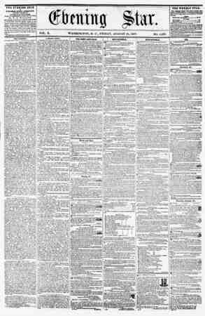 VOL. X. WASHINGTON, D. C., FRIDAY, AUGUST 28, 1857. NO. 1,438. THE EVENING STAR ? flBLISHED KTERT AFTIRJIOOPI, {S1CBPT...