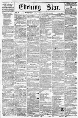 VOL. X. WASHINGTON, D. C., SATURDAY, AUGUST 29, 1857. NO. 1,439. TilE EVENING STAB ? riBLlSHEl) KTKKT AFTERMOON, <EXCEPT...