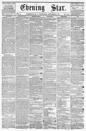 VOL. X. WASHINGTON, D. C., WEDNESDAY, SEPTEMBER 2, 1857. NO. 1,44 THE EVENING STAR i* PUBLISHED EVER Y 'APTERXOON, (SUNDAY