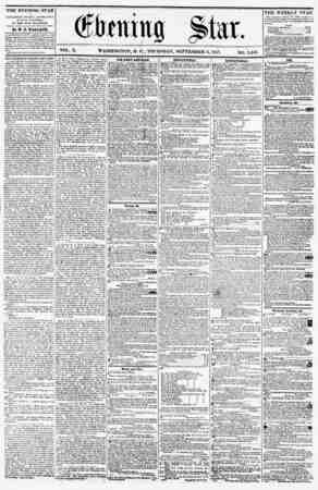 VOL. X. WASHINGTON, D. C., THURSDAY, SEPTEMBER 3, 1857. NO. 1,443. f THE EVENING STAR is PUBLISHED EVERY AFTERNOON, (SUNDAY