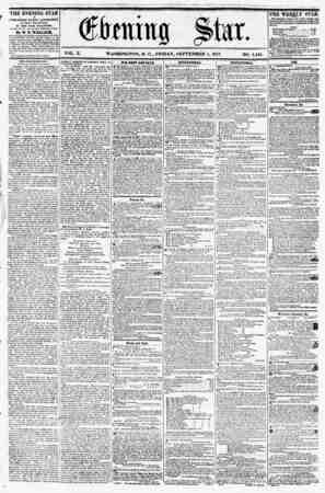 """ (fbmiufl Star. ? ? % * > ji VOL. X. WASHINGTON, D. C., FRIDAY, SEPTEMBER 4, 1857. NO. 1,444. THE EVENING STAR ti PUBLISHED"