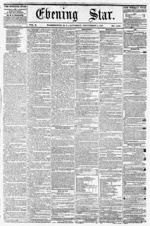 VOL. X. WASHINGTON, D. C., SATURDAY, SEPTEMBER 5, 18.37. NO. 1,445. ii i ' THE EVENING STAR is PUBLISHED EVERY AFTERNOON,...