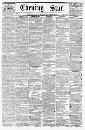 """I """" VOL. X. WASHINGTON, D. C., TUESDAY, SEPTEMBER 8, 1857. NO. 1,447. I* PUB US RED EVERY AFTERNOON, (SUNDAY EXCEPTED,) AT"""