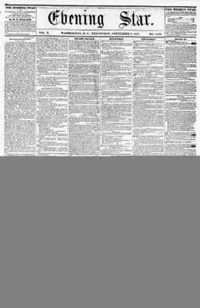 VOL. X. WASHINGTON, D. C., WEDNESDAY, SEPTEMBER 9, 1857. NO. 1,448. THE EVENING STAR ? li PUBLISHED EVERY AFTERNOON, (SUNDAY