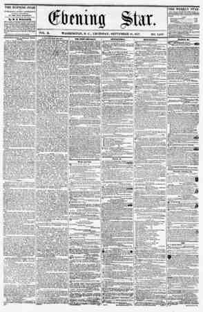 = i VOL. X. WASHINGTON, D. C., THURSDAY, SEPTEMBER 10, 1857. NO. 1,449. THE EVENING STAR is PUBLISHED EVERY AFTERNOON,...