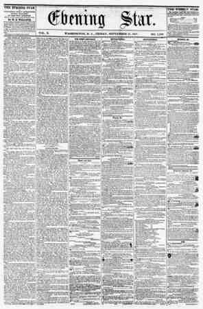 VOL. X. WASHINGTON, D. C., FRIDAY, SEPTEMBER 11, 1857. NO. 1,450. THE EVENING STAR is PUBLISHED EVERY AFTERNOON, (SUNDAY...