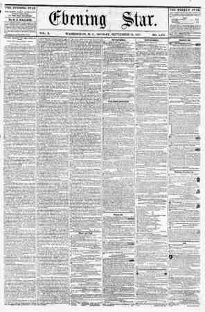 VOL. X. WASHINGTON, D. C., MONDAY, SEPTEMBER 14, 1857. NO. 1,452. THE EVENING STAR rVBLISHED EVERY AFTERNOON, (SUNDAY...
