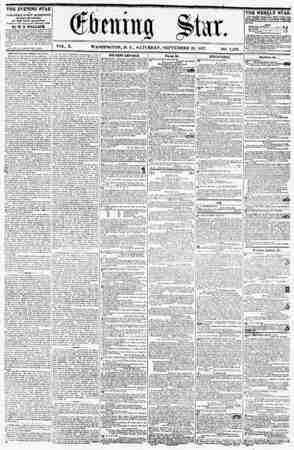 (ffbtnwa Star. VOL. X. WASHINGTON, D. C., SATURDAY, SEPTEMBER 2G, 1857. NO. 1,463. THE EVENING STAR IB PVBUSHED EVERY...