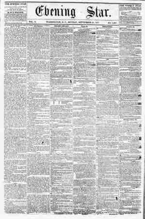 VOL. X. WASHINGTON, D. C., MONDAY, SEPTEMBER 28, 1857. NO. 1,404. THE EVENING STAR if PUBLISHED EVER Y AFTERNOON, (Sl'NDAV