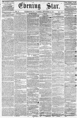 VOL. X. *17 iO il<, WASHINGTON, D. C., TUESDAY, SEPTEMBER 29, 1857. NO. 1,4G5. ? THE EVENING STAR is PUBLISH KD HVBRY...
