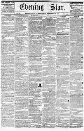 VOL. X. WASHINGTON, D. C., WEDNESDAY, SEPTEMBER 30, 1857. NO. 1,466, THE EVENING STAR is PUBLISHED EVERY AFTERNOON, (SUNDAY
